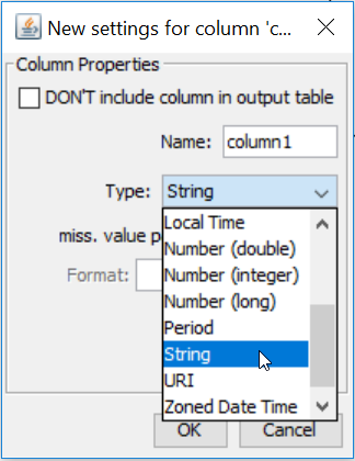 new settings for column in table creator on knime analytics platform