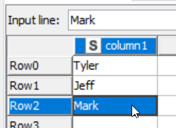 input line visual showing table creator in knime